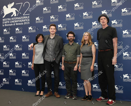 From left, producer Rosa Tran, directors Duke Johnson and Charlie Kaufman, actors Jennifer Jason Leigh and Tom Noonan pose during the photo call for the film Anomalisa at the 72nd edition of the Venice Film Festival in Venice, Italy, . The 72nd edition of the festival runs until Sept. 12