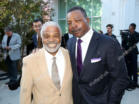 Ted Lange, left, and Carl Weathers attend the Television Academy's 70th Anniversary Gala and Opening Celebration for its new Saban Media Center, in the NoHo Arts District in Los Angeles