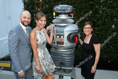 Jon Cryer, from left, Lisa Joyner, and Nina Tassler attend the Television Academy's 70th Anniversary Gala and Opening Celebration for its new Saban Media Center, in the NoHo Arts District in Los Angeles