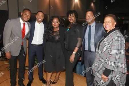 Stock Photo of Actor, philanthropist and HBCU alumni Terrence â?˜J' Jenkins, second from the left, is joined by Clark Atlanta University student Adrain Artary, first left, along with event panelists Natasha Eubanks, Founder and CEO, TheYBF.com; Lisa Frison, Vice President, African American segment manager, Wells Fargo; and Richard Shropshire, Vice President of Branding, Marketing and Communications, United Negro College Fund (UNCF) along with the Dean of Students of Clark Atlanta University, Ernita Hemmitt at the Wells Fargo My Life, My Story, #MyUntold? Town Hall on for students at Clark Atlanta University, Morehouse College and Spelman College in Atlanta, GA