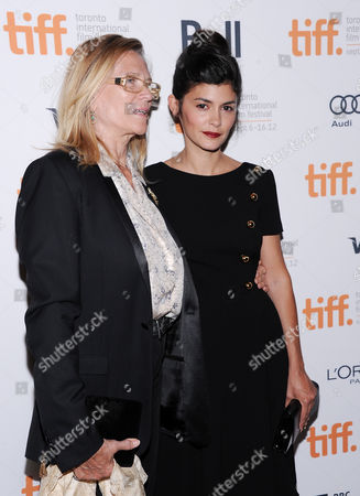 """Stock Picture of French actress Audrey Tautou, right, and Annie Miller, daughter of director Claude Miller, arrive at the premiere for """"Therese Desqueyroux"""" during the Toronto International Film Festival on in Toronto"""