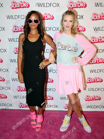 Stock Picture of IMAGE DISTRIBUTED FOR BARBIE - Merethe Hopland, right, and Kirby Griffin attend the Barbie Loves Wildfox party celebrating the Resort 2014 collaboration launch at the Wildfox Flagship Store, on in Los Angeles