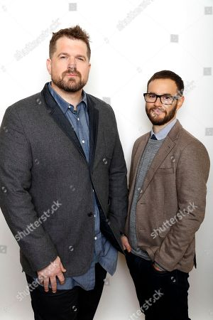 """Directors Seth Gordon, left, and Clay Tweel pose for a portrait to promote the film, """"Gleason"""", at the Toyota Mirai Music Lodge during the Sundance Film Festival on in Park City, Utah"""