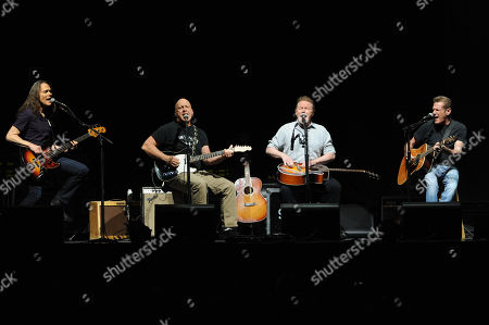 The Eagles, from left, Timothy B. Schmit, Bernie Leadon, Glenn Frey and Joe Walsh perform at Madison Square Garden on in New York
