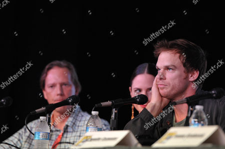 """Stock Picture of Scott Buck, Wendy West and Michael C. Hall attend the """"Dexter"""" Panel at Comic-Con on in San Diego, Calif"""
