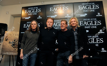 """From left, Timothy B. Schmit, Don Henley, Glenn Frey and Joe Walsh of The Eagles pose together after a news conference at the 2013 Sundance Film Festival, in Park City, Utah. The documentary film """"The History of The Eagles Part 1"""" is being shown at the festival"""