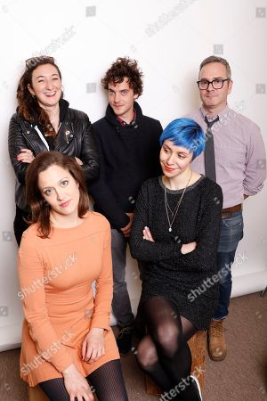 From top left, producer Alexandra Byer, actor Robert Jumper, director Tim Sutton, actress Anna Rose Hopkins, and composer Maica Armata pose for a portrait to promote the film, 'Dark Night', at the Toyota Mirai Music Lodge during the Sundance Film Festival on in Park City, Utah