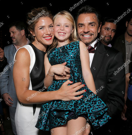 """Jessica Lindsey, left, Loreto Peralta, center, and Mexican film director Eugenio Derbez attend Pantelion Films' """"Instructions Not Included"""" Los Angeles Premiere After Party, in Los Angeles. Derbez's Spanish language film, """"Instructions Not Included,"""" grossed $7.8 million on the weekend of its release, according to Hollywood.com on"""