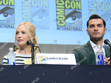 """Stock Photo of Candice Accola, left, and Michael Malarkey attend """"The Vampire Diaries"""" panel on day 4 of Comic-Con International, in San Diego"""