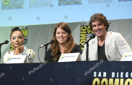 """Kat Graham, from left, Caroline Dries and Ian Somerhalder attend """"The Vampire Diaries"""" panel on day 4 of Comic-Con International, in San Diego"""