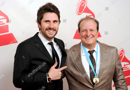 Juan Pablo Vega, left, and Julio Reyes Copello arrive at the Latin Recording Academy Person of the Year Tribute honoring Joan Manuel Serrat in Las Vegas. Through his label Art House Records, Reyes Copello hopes to rescue the Latin genres that the industry has left behind in favor reggaeton. He now represents emerging artists like Juan Pablo Vega, Brika, Paula, BOGART and Mariana Vega