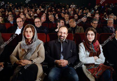 Stock Image of Asghar Farhadi, Parisa Bakht Avar and Sarina Farhadi