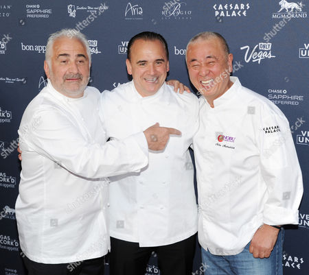 Celebrity chefs Guy Savoy, left, Jean-Georges Vongerichten and Nobu Matsuhisa attend the Grand Tasting during Vegas Uncork'd by Bon Appetit presented by Chase Sapphire Preferred at Caesars Palace on in Las Vegas