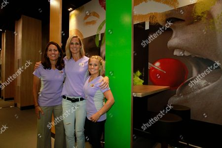 Left to right, Olympians Julie Foudy, Dara Torres and Shawn Johnson pose for photos at the McDonald's London 2012 Olympic Games Press Event, in London, England