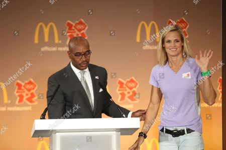 Kevin Newell left, and Olympian Dara Torres attends McDonald's London 2012 Olympic Games Press Event, in London, England