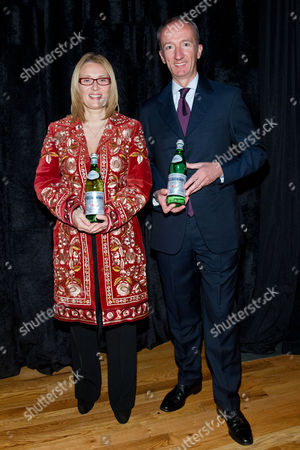 """Stock Picture of Nicoletta Mantovani Pavarotti and CEO and President S.Pellegrino Stefano Agostini attend a preview of the exhibition """"AMO PAVAROTTI"""" in celebration of a new partnership between S.Pellegrino and the Luciano Pavarotti Foundation at 82MERCER, on in New York"""