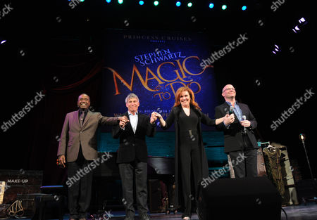 Oscar-winning Broadway composer Stephen Schwartz, second left, takes a bow with entertainers Ben Vereen, left, Debbie Gravitte and Scott Coulter, right, after an event announcing Schwartz's partnership with Princess Cruises, at Millennium Broadway's Hudson Theatre in New York