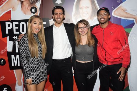 From left, Eva Gutowski, George Strompolos, Laci Green and Brandon Armstrong attend the Fullscreen Media NewFront event at the Altman Building, in New York