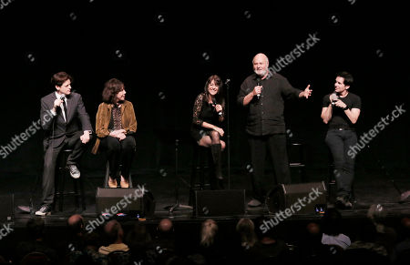 "John Fugelsang, Lily Tomlin, Stephanie Miller, Robert Reiner and Hal Sparks participate in the ""Sexy Liberal"" tour at the Pantages Theatre, in Los Angeles"