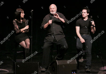 "Stephanie Miller, Robert Reiner and Hal Sparks participate in the ""Sexy Liberal"" tour at the Pantages Theatre, in Los Angeles"