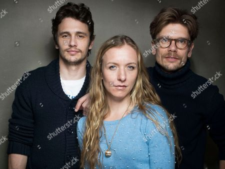 """From left, Producer James Franco, director Christina Voros and filmmaker Travis Mathews from the film """"Kink,"""" pose for a portrait during the 2013 Sundance Film Festival at the Fender Music Lodge, on in Park City, Utah"""