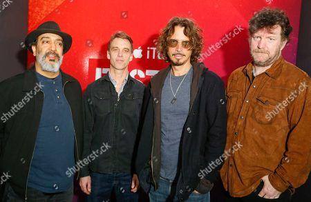 Soundgarden's Kim Thayil, Matt Cameron, Chris Cornell and Ben Shepherd, from left, pose for a photograph at the iTunes Festival showcase during the SXSW Music Festival, in Austin, Texas