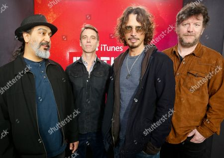 Soundgarden band members, from left, Kim Thayil, Matt Cameron, Chris Cornell and Ben Shepherd, pose for a photograph at the iTunes Festival showcase during the SXSW Music Festival, in Austin, Texas