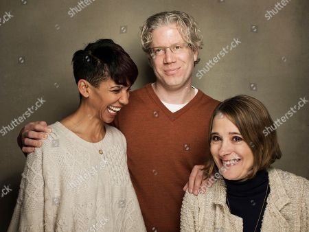"""From left, Marta Cunningham, Sasha Alpert, and Eddie Schmidt from the film """"Valentine Road,"""" poses for a portrait during the 2013 Sundance Film Festival at the Fender Music Lodge, on Friday, in Park City, Utah"""