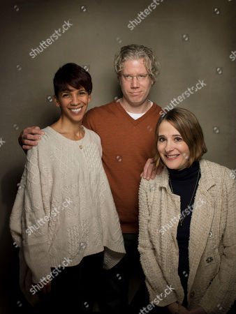 """L-r) Marta Cunningham, Sasha Alpert, and Eddie Schmidt from the film """"Valentine Road,"""" poses for a portrait during the 2013 Sundance Film Festival at the Fender Music Lodge, on Friday, January, 19, 2013 in Park City, Utah"""
