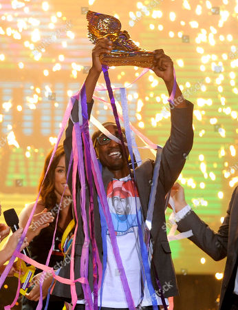 Daniel Maree, of Million Hoodies Movement for Justice, reacts after he is announced as the winner of the grand prize at the Do Something Awards at the Avalon, in Los Angeles