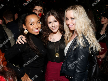 Logan Browning, Erin Sanders and Skyler Shaye attend a surprise birthday party for MTV Teen Wolf's Stephen Lunsford presented by Monster Energy Drinks on in Los Angeles, CA