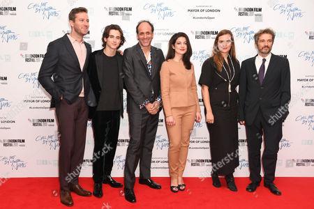 Armie Hammer, Timothée Chalamet, Luca Guadagnino, Esther Garrel, Emilie Georges and guest