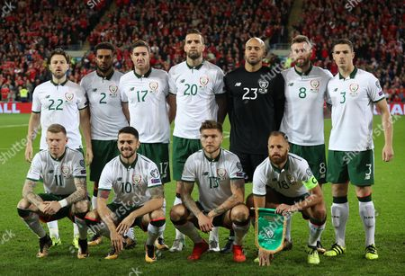 The Republic of Ireland team, back row, from left to right, Harry Arter, Cyrus Christie, Stephen Ward, Shane Duffy, Daryl Murphy and Ciaran Clark. Front row, from left to right, James McClean, Robbie Brady, Jeff Hendrick and David Meyler