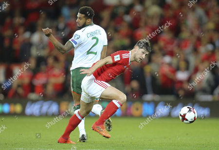 Ben Davies of Wales gets away from Cyrus Christie of Republic of Ireland
