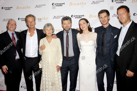 Stock Photo of Tyler DiNapoli (Pres. Marketing, Media, Research), Jonathan Cavendish (Producer),Diana Cavendish (Producer), Andy Serkis (Director), Claire Foy, Andrew Garfield, Andrew Karpen (CEO Bleecker Street)