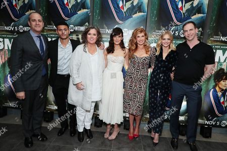 David Nevins, President and CEO, Showtime Networks, Miguel Gomez, Rosie O'Donnell, Frankie Shaw, Connie Britton, Samara Weaving and Patrick Moran, President, ABC Studios
