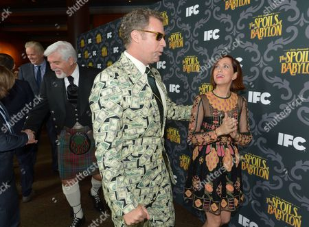 """From left, Tim Robbins, Steve Tom, Will Ferrell and Kristen Wiig arrive at IFC's """"The Spoils of Babylon"""" premiere red carpet at the DGA Theater, in Los Angeles"""