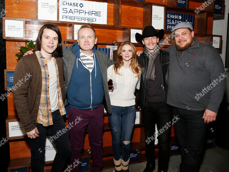 Carnage Park Director Mikey Keating and cast members, left to right, Pat Healy, Ashley Bell, James Landry Hebert and Michael Villar stop by the Indiewire Photo Studio at Chase Sapphire on Main during the 2016 Sundance Film Festival in Park City, Utah