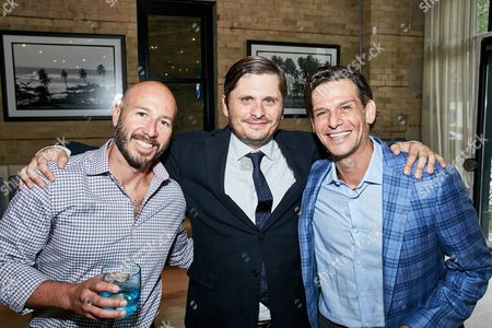 R2 Entertainment EVP Sal Alvarez, Relativity Motion Picture & Television Group SVP Carter Swan and R2 Entertainment co-President Mark Kassen and seen at R2 happy hour event at 2016 Toronto International Film Festival, in Toronto, Ont