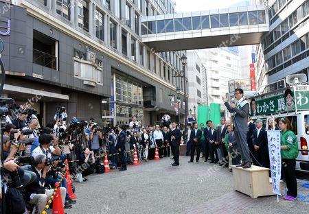Masaru Wakasa, former persecutor-turned-politician, kicks of his campaign in Tokyos Ikebukuro