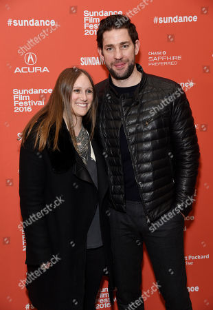"John Krasinski, right, director, producer and star of ""The Hollars,"" poses with producer Allyson Seeger at the premiere of the film at the 2016 Sundance Film Festival, in Park City, Utah"