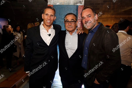 From left, Ynon Kreiz, CEO of Maker, Michael Kassan, CEO of MediaLink, and Scott Donaton, CCO of DigitasLBi, attend Maker Studios NewFront 2015 at Skylight Clarkson Square on Tue., in New York City