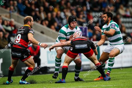 Ryan Burrows drives his side forward with Maxime Mermoz in support. Newcastle Falcons v Newport Gwent Dragons in the European Challenge Cup on Saturday 13th October 2017 at Kingston Park, Newcastle upon Tyne.