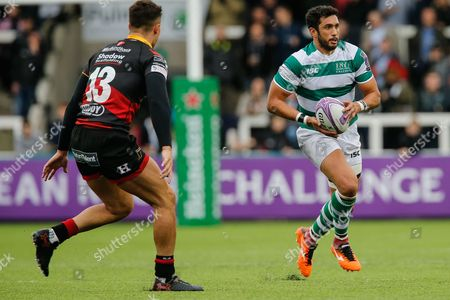 Maxime Mermoz in action. Newcastle Falcons v Newport Gwent Dragons in the European Challenge Cup on Saturday 13th October 2017 at Kingston Park, Newcastle upon Tyne.