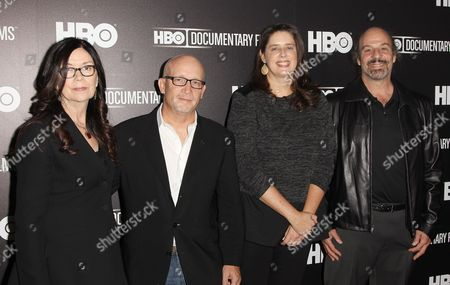 "Producer Victoria Pearman left, director Alex Gibney, producer Blair Foster and producer Peter Afterman attend the premiere of the HBO Film ""Mr. Dynamite: The Rise Of James Brown"" at the Time Warner Screening Room, in New York"