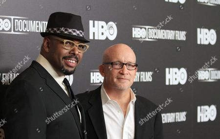 """Musician Christian McBride and director Alex Giney attend the premiere of the HBO Film """"Mr. Dynamite: The Rise Of James Brown"""" at the Time Warner Screening Room, in New York"""
