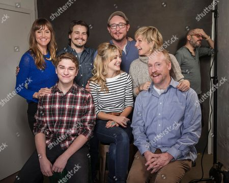 Stock Photo of From left, Erinn Hayes, Jake Cherry, Jason Ritter, Meredith Hagner, James Adomian, Amy Carlson, Matt Walsh and David Cross pose for a portrait at Quaker Good Energy Lodge with GenArt and the Collective, during the Sundance Film Festival, on in Park City, Utah