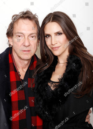 """Producer John Branca and model Jenna Hurt pose for a portrait to promote the series, """"Off the Wall"""", at the Toyota Mirai Music Lodge during the Sundance Film Festival on in Park City, Utah"""