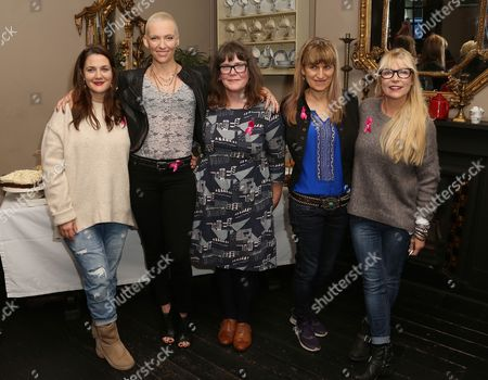 From left to right, actors Drew Barrymore, Toni Collette, Baroness Delyth Morgan, director Catherine Hardwicke, screenwriter Morwenna Banks, pose for photographers during a photo call for the film, Miss You Already, in south London
