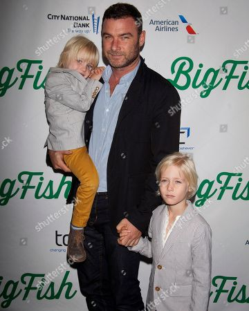 "Actor Liev Schreiber, center, with sons Samuel Kai Schreiber and Alexander Pete Schreiber arrive at the ""Big Fish"" Broadway Opening Night, in New York. Nothing is more important than family. That's what the stoic Hollywood fixer played by Schreiber tells his wife in the second season premiere of 'Ray Donovan.'? While it's unclear whether his character believes his own words, Schreiber says that principle has shaped his career in recent years"